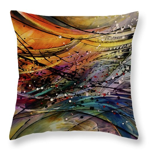 Abstract Art Throw Pillow featuring the painting Abstract by Michael Lang