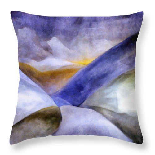 Blue Throw Pillow featuring the painting Abstract Mountain Landscape by Michelle Calkins