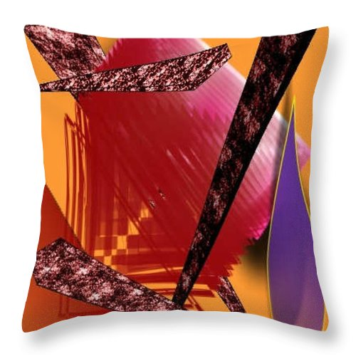 Abstracts Throw Pillow featuring the digital art Abstract-n-gold by Brenda L Spencer