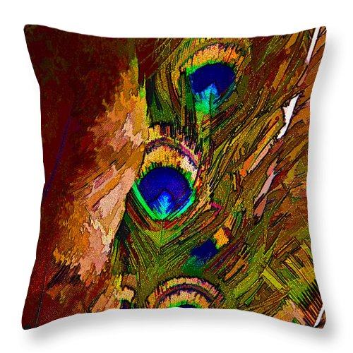 Abstract Throw Pillow featuring the digital art Abstract Peacock by Ches Black