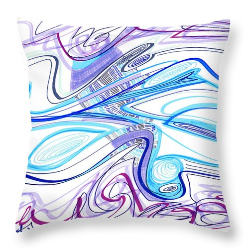Abstract Throw Pillow featuring the drawing Abstract Pen Drawing Forty-two by Lynne Taetzsch