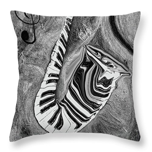 Abstract Piano Key Reflections In The Saxophone 1 - Music In Motion Throw Pillow featuring the mixed media Piano Keys In A Saxophone 1 - Music In Motion by Wayne Cantrell