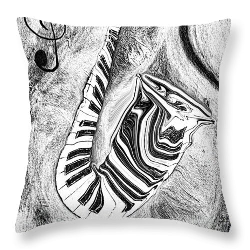 Abstract Piano Key Reflections In The Saxophone 2 - Music In Motion Throw Pillow featuring the mixed media Piano Keys In A Saxophone 2 - Music In Motion by Wayne Cantrell
