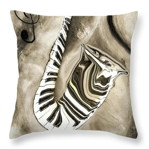 Abstract Piano Key Reflections In The Saxophone 3 - Music In Motion Throw Pillow featuring the mixed media Piano Keys In A Saxophone 3 - Music In Motion by Wayne Cantrell