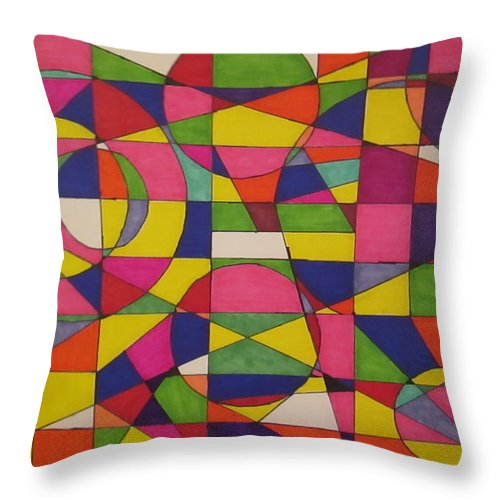 Design Throw Pillow featuring the drawing Abstract Rainbow Of Color by Sarahjo Hawes