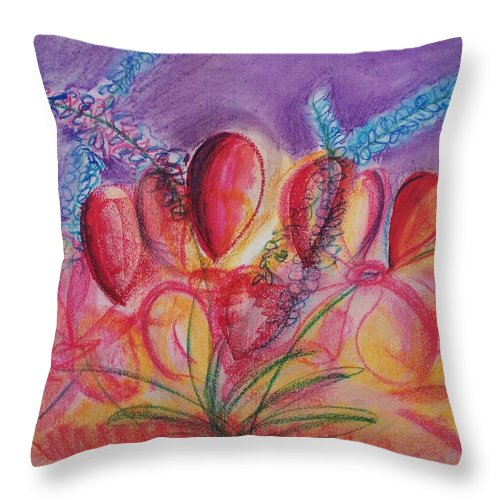 Abstract Throw Pillow featuring the drawing Abstract Red And Purple And Blue by Eric Schiabor