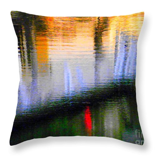 Abstract Throw Pillow featuring the photograph Abstract Reflection In Water 02 by Henry Murray