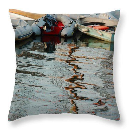 Dinghy Throw Pillow featuring the photograph Abstract Reflections by Suzanne Gaff