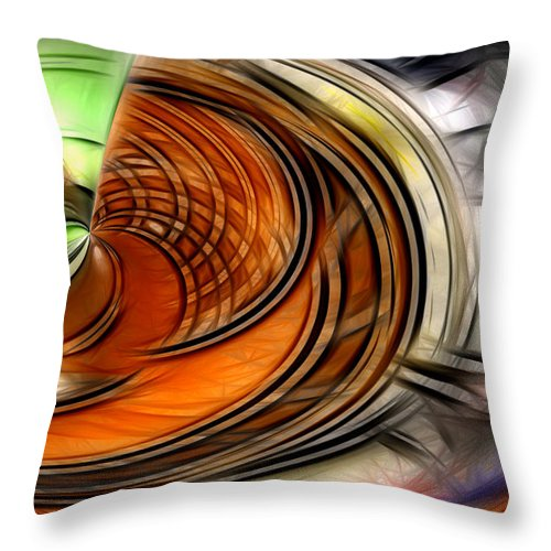 Abstract Green Yellow Orange White Blue Throw Pillow featuring the digital art Abstract by Galeria Trompiz