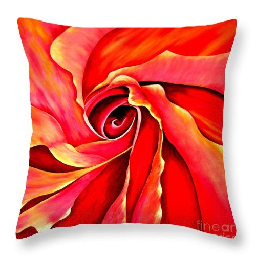 Mary Deal Throw Pillow featuring the painting Abstract Rosebud Fire Orange by Mary Deal