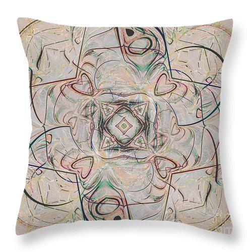 Digital Throw Pillow featuring the digital art Abstract With Hearts by Deborah Benoit