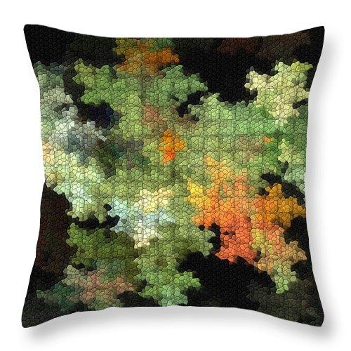 Digital Throw Pillow featuring the mixed media Abstract World by Deborah Benoit