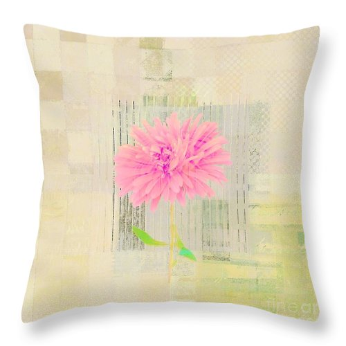 Pink Throw Pillow featuring the digital art Abstractionnel - 29z21bb by Variance Collections