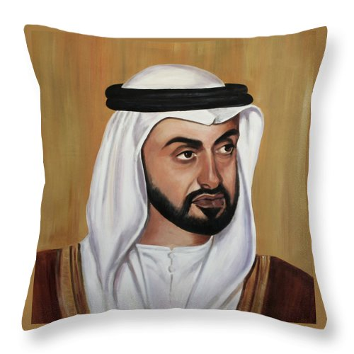 Abu Dhabi Throw Pillow featuring the painting Abu Dhabi Crown Prince by Fiona Jack