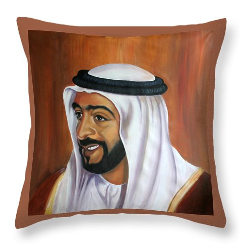 Portrait Throw Pillow featuring the painting Abu Dhabi by Fiona Jack