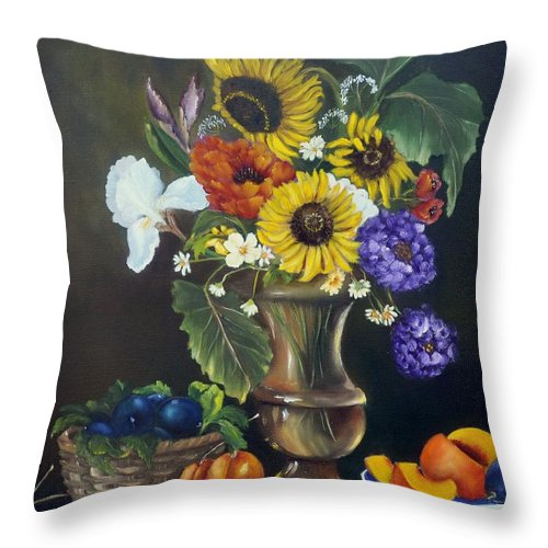 Still Life Throw Pillow featuring the painting Abundance by Carol Sweetwood