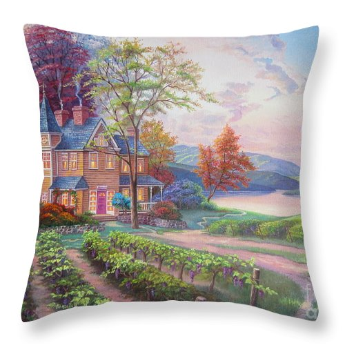 Sunset Throw Pillow featuring the painting Abundant Harvest by Elena Yalcin