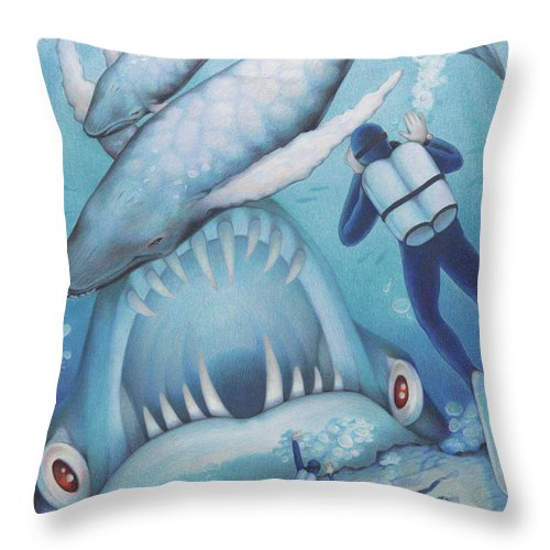 Sea Throw Pillow featuring the drawing Abysmal Maw by Amy S Turner