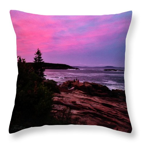 Maine Scenery Throw Pillow featuring the photograph Acadia National Park Sunset by Sharon Fiedler