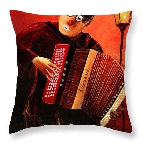Music Throw Pillow featuring the print Accordeon by Pol Ledent