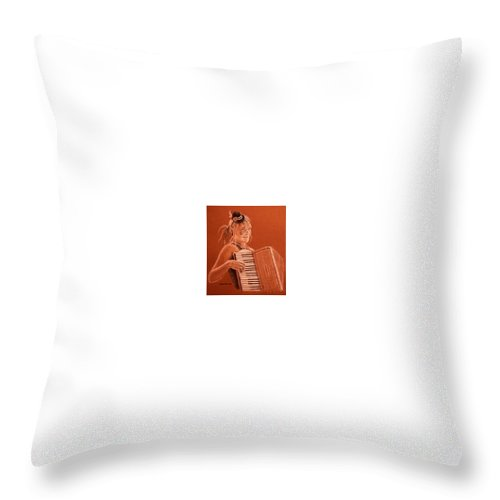 Accordion Throw Pillow featuring the drawing Accordion Girl by Michael Beckett