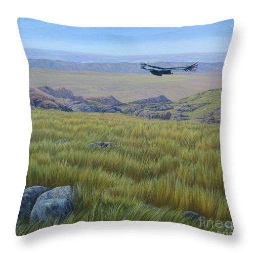 Grass Throw Pillow featuring the painting Achala Landscape by Juan Enrique Marquez