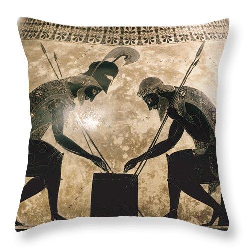 540 B.c Throw Pillow featuring the photograph Achilles & Ajax, C540 B.c by Granger
