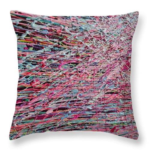 Rain Throw Pillow featuring the painting Acid Rain by Polina Kamenska