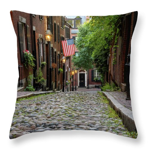 Acorn St. Throw Pillow featuring the photograph Acorn St. Boston Ma. by Michael Hubley