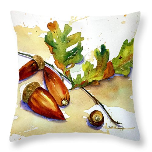 Acorns Throw Pillow featuring the painting Acorns And Leaves by Hilda Vandergriff