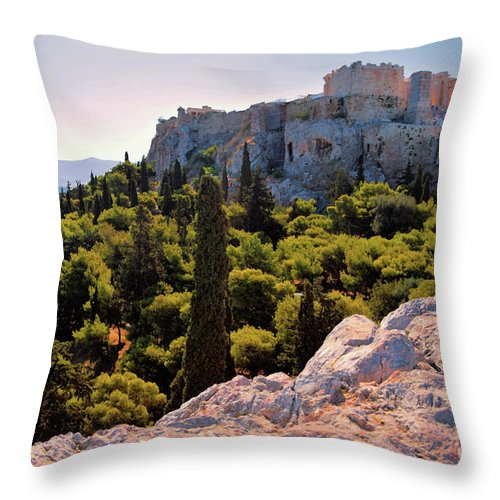 Acropolis Throw Pillow featuring the photograph Acropolis In The Morning Light by Camelia C