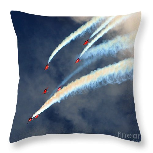 Red Arrows Throw Pillow featuring the photograph Across by Angel Ciesniarska