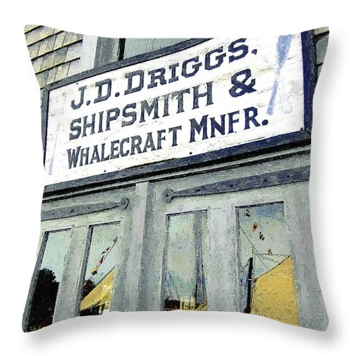 Sign Throw Pillow featuring the painting Across From The Harbor by RC DeWinter