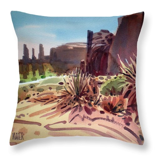 Monument Valley Throw Pillow featuring the painting Across Monument Valley by Donald Maier
