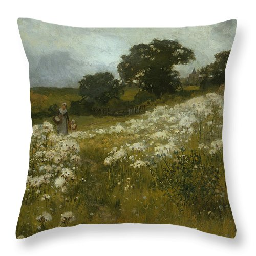 Across The Fields (oil On Canvas) By John Mallord Bromley (1862-1940) Throw Pillow featuring the painting Across the Fields by John Mallord Bromley