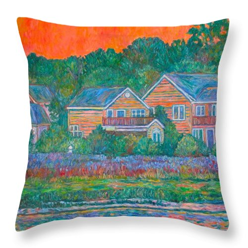 Landscape Throw Pillow featuring the painting Across The Marsh At Pawleys Island    by Kendall Kessler