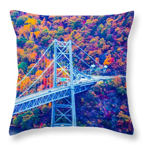 Bear Mountain Bridge Throw Pillow featuring the photograph Across The Other Side Of Bear Mountain Bridge by William Rogers