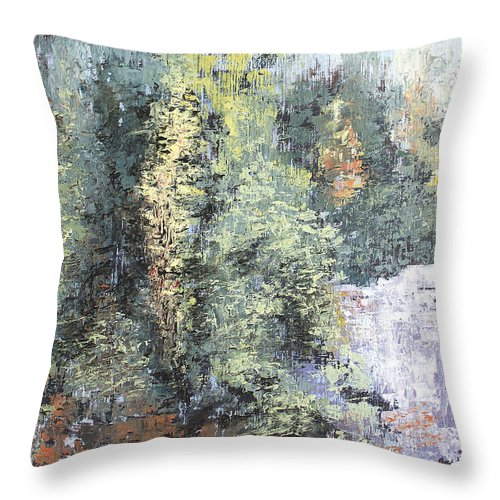 Landscape Throw Pillow featuring the painting Across The Ravine by Todd Blanchard