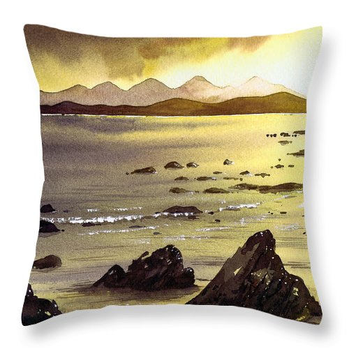 Gigha Throw Pillow featuring the painting Across To Gigha And Jura by Paul Dene Marlor