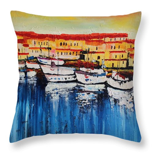 Originals Throw Pillow featuring the painting Acrylic Msc 112 by Mario Sergio Calzi