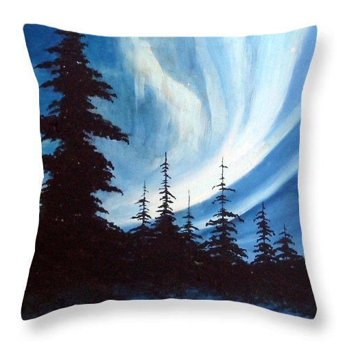 Landscape Throw Pillow featuring the painting Actic Aurora by Rick Gallant