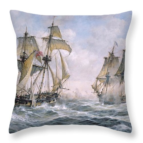 Seascape; Ships; Sail; Sailing; Ship; War; Battle; Battling; United States; Wasp; Brig Of War; Frolic; Sea; Water; Cloud; Clouds; Flag; Flags; Sloop; Action; Wave; Waves Throw Pillow featuring the painting Action Between U.S. Sloop-of-War 'Wasp' and H.M. Brig-of-War 'Frolic' by Richard Willis