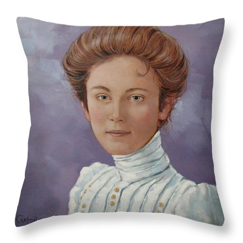 Posthumous Portrait Throw Pillow featuring the painting Ada Douglas by Jerrold Carton