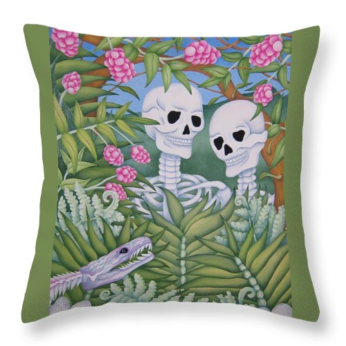 Calavera Throw Pillow featuring the painting Adam And Eve by Jeniffer Stapher-Thomas
