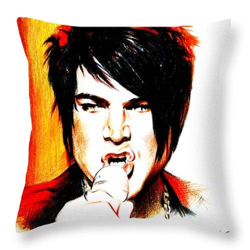 Adam Lambert Throw Pillow featuring the drawing Adam Lambert by Lin Petershagen