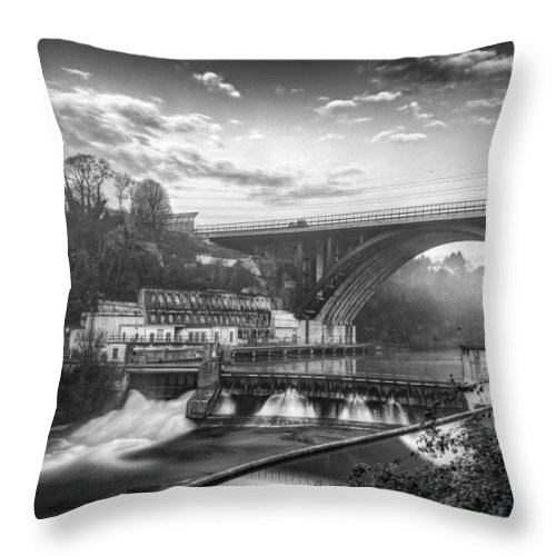 Buildings Throw Pillow featuring the photograph Adda Dam by Walter Riboldi