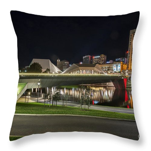 Adelaide Throw Pillow featuring the photograph Adelaide Riverbank At Night II by Ray Warren