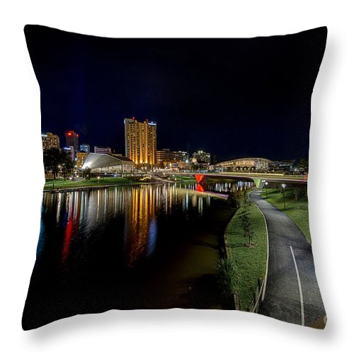 Adelaide Throw Pillow featuring the photograph Adelaide Riverbank At Night Iv by Ray Warren