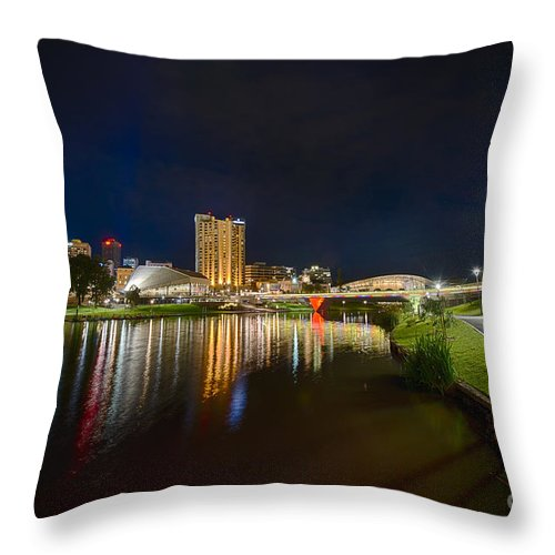 Adelaide Throw Pillow featuring the photograph Adelaide Riverbank At Night Vi by Ray Warren