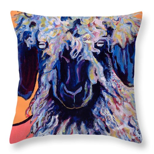 Goat Print Throw Pillow featuring the painting Adelita  by Pat Saunders-White